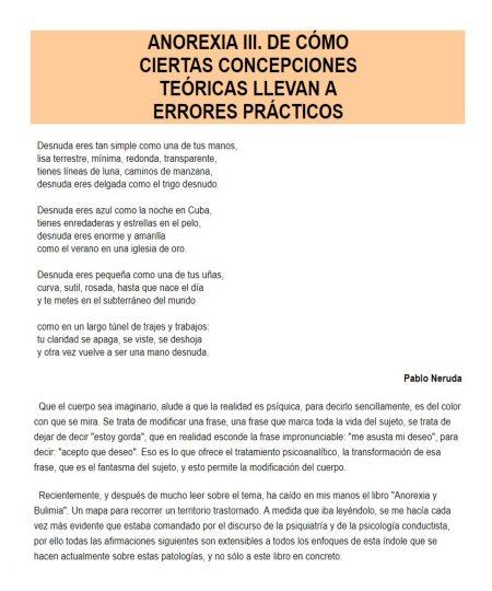 ANOREXIA III. DE CÓMO CIERTAS CONCEPCIONES TEÓRICAS LLEVAN A ERRORES PRÁCTICOS