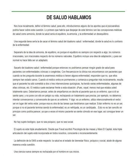 DE SALUD HABLAMOS
