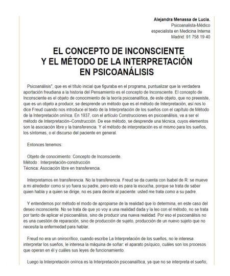 EL CONCEPTO DE INCONSCIENTE Y EL MÉTODO DE LA INTERPRETACIÓN EN PSICOANÁLISIS