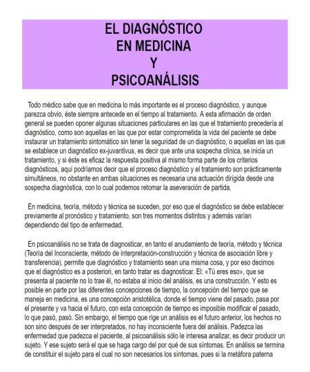 EL DIAGNÓSTICO EN MEDICINA Y PSICOANÁLISIS