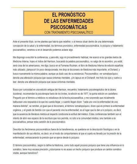 EL PRONÓSTICO DE LAS ENFERMEDADES PSICOSOMÁTICAS CON TRATAMIENTO PSICOANALÍTICO
