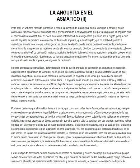 LA ANGUSTIA EN EL ASMÁTICO. II