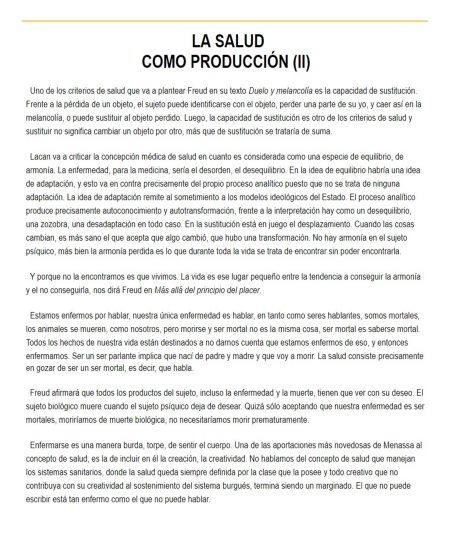 LA SALUD COMO PRODUCCIÓN (II)