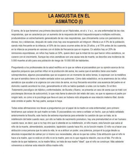 LA ANGUSTIA EN EL ASMÁTICO. I