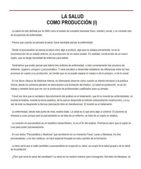 LA SALUD COMO PRODUCCIÓN (I)