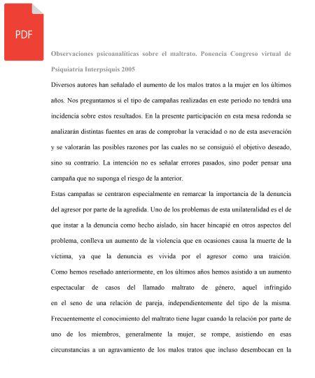 OBSERVACIONES PSICOANALÍTICAS SOBRE EL MALTRATO