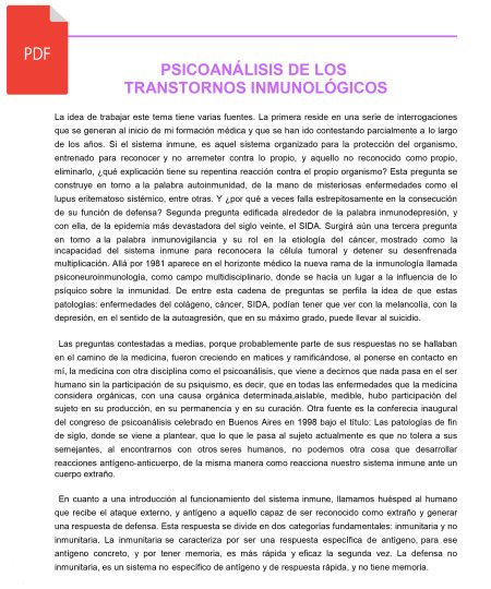 PSICOANÁLISIS DE LOS TRASTORNOS INMUNOLÓGICOS