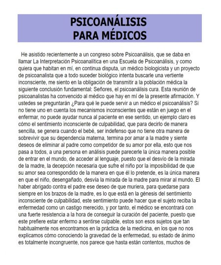PSICOANÁLISIS PARA MÉDICOS