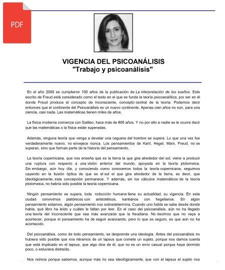 VIGENCIA DEL PSICOANÁLISIS. TRABAJO Y PSICOANÁLISIS