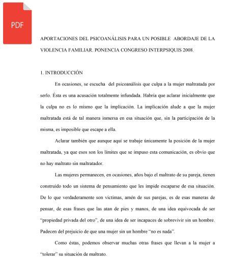 APORTACIONES DEL PSICOANÁLISIS PARA UN POSIBLE ABORDAJE DE LA VIOLENCIA FAMILIAR