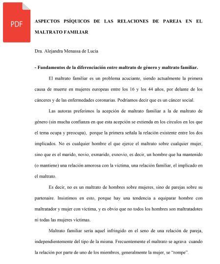 ASPECTOS PSÍQUICOS DE LAS RELACIONES DE PAREJA EN EL MALTRATO FAMILIAR