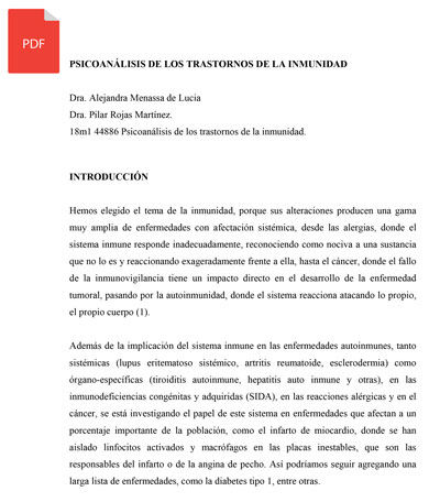 PSICOANÁLISIS DE LOS TRASTORNOS DE LA INMUNIDAD